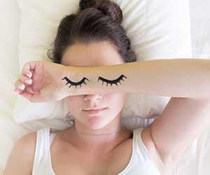 young woman drawn eyes
